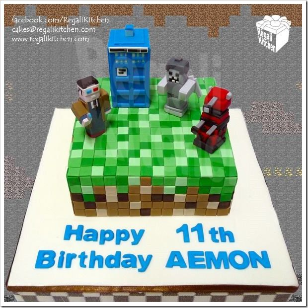 Magnificent Doctor Who Meets Minecraft Cake made by The Regali Kitchen