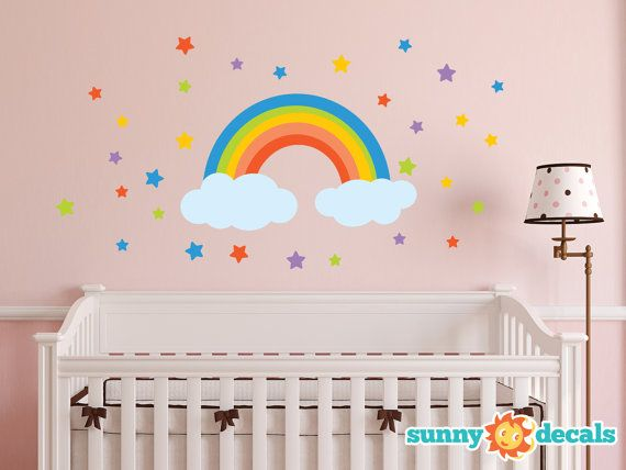Rainbow Fabric Wall Decal Rainbow Wall Sticker with by SunnyDecals