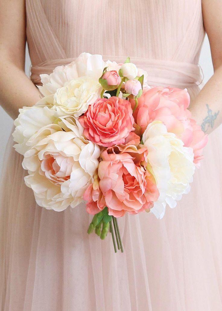 Blush Coral Peony & Ranunculus Bouquet DIY Wedding Ideas Afloral #diywedding #weddingflowers