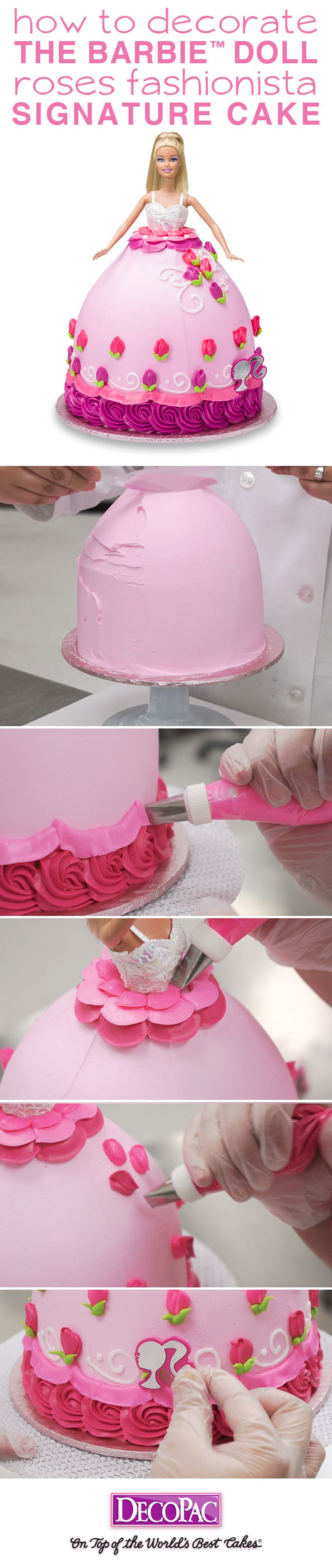 Barbie never goes out of style, learn to make this Signature Barbie Doll Roses Fashionista cake.