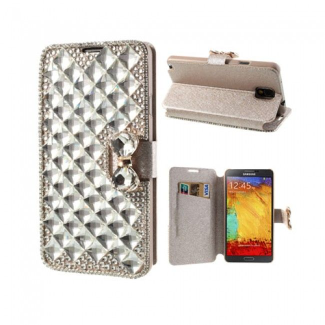 Diamond Bling (Hopea) Samsung Galaxy Note 3 Suojakotelo - http://lux-case.fi/catalog/product/view/id/23705/s/diamond-bling-silver-samsung-galaxy-note-3-leather-flip-case/