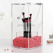 Clear Acrylic Makeup Organizer Case Cosmetic Brush Storage Pearls Holder Box