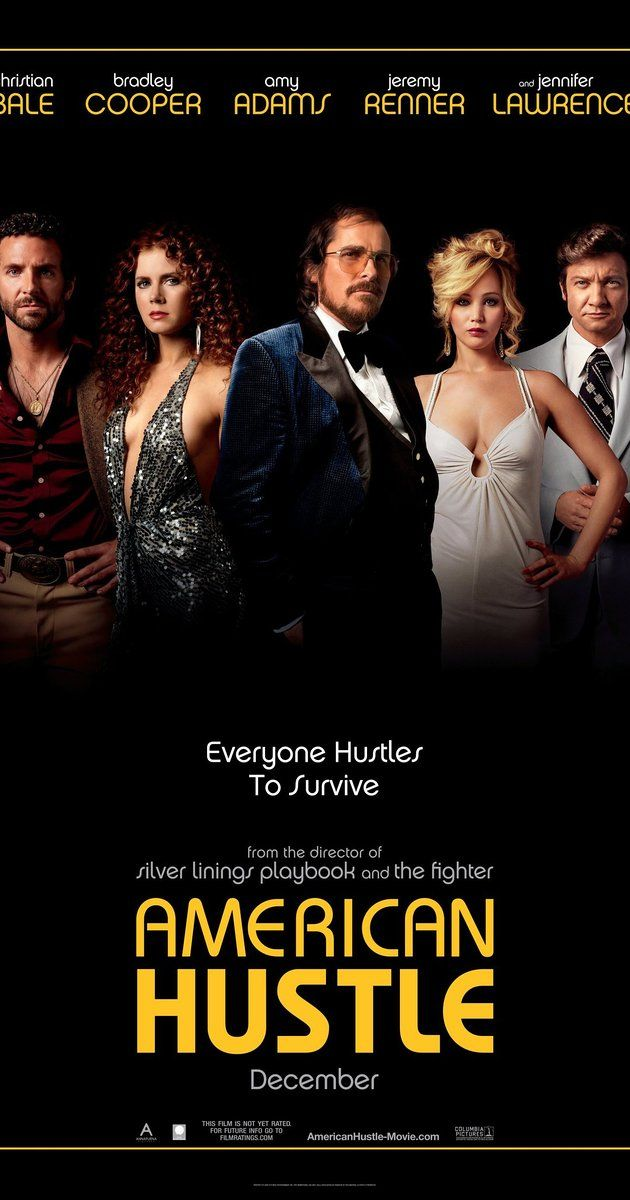 Directed by David O. Russell.  With Christian Bale, Amy Adams, Bradley Cooper, Jennifer Lawrence. A con man, Irving Rosenfeld, along with his seductive partner Sydney Prosser, is forced to work for a wild F.B.I. Agent, Richie DiMaso, who pushes them into a world of Jersey powerbrokers and Mafia.