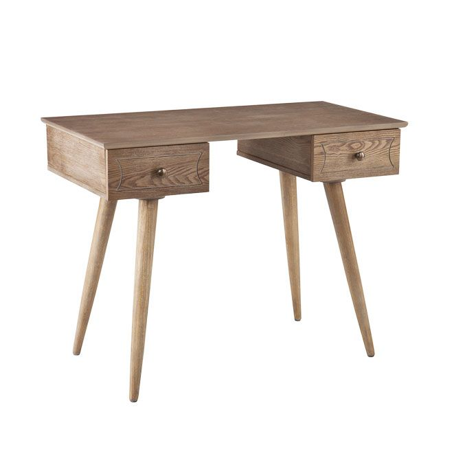 "It's Only Natural Desk - Burnt Oak | dotandbo.com Dimensions: 38"" W x 20"" D x 30.5"" H Drawer Dimensions: 8.5"" W x 18.5"" D x 3"" H"