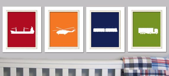 Nursery Quad, Madras Nursery, Navy Nursery, Transportation Wall Art, Set of 4, 8X10, navy, red, blue, green, orange