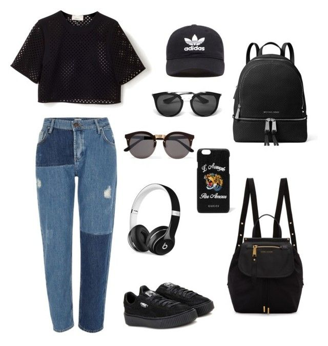 Black edition 🖤 by livfanllya on Polyvore featuring polyvore, fashion, style, River Island, Puma, Marc Jacobs, MICHAEL Michael Kors, Beats by Dr. Dre, adidas Originals, Gucci, Illesteva, Prada and clothing