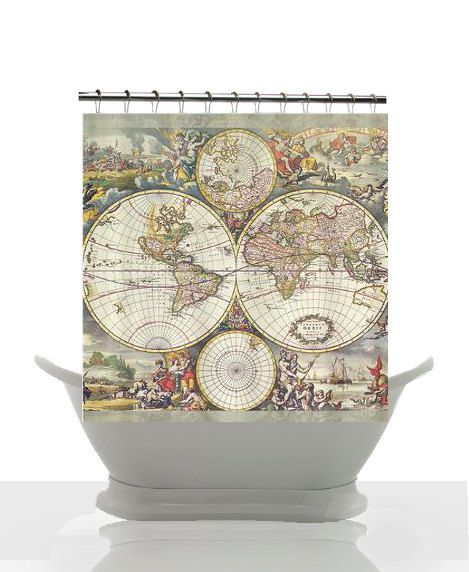 antique world map fabric shower curtain vintage map travel decor frederic de wit classic double hemisphere map home bathroom maps