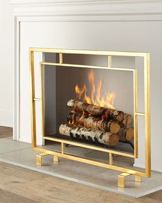 INTERLUDE Shay Glass Fireplace Screen