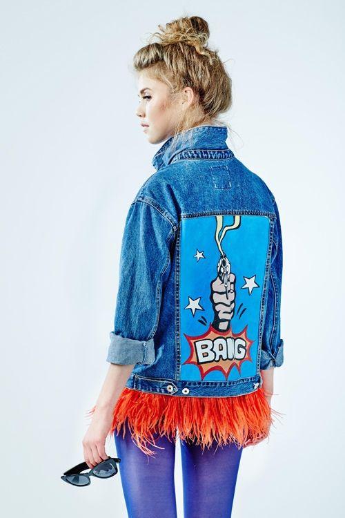 """Hand - painted denim jacket """"BANG"""""""