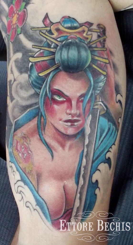 41 best anime girl samurai tattoos designs images on for Female samurai tattoo