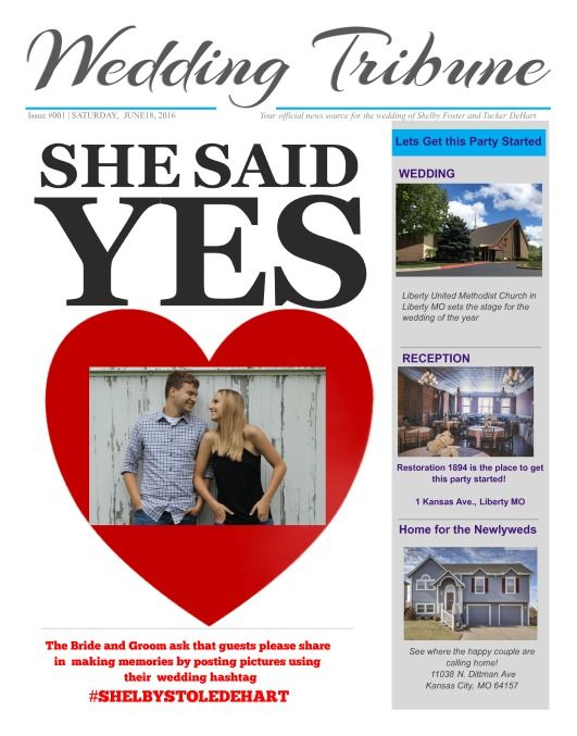 35 Best Wedding Engagement Newspaper Templates Images On Pinterest