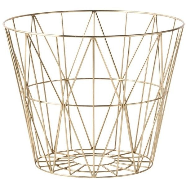 Small Brass Wire Basket design by Ferm Living ($105) ❤ liked on Polyvore featuring home, home decor, small item storage, baskets, brass basket, ferm living, brass home accessories, wire baskets and wire home decor