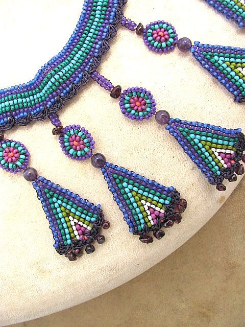 Seed Beaded Necklace with Pendants of Amethyst and Garnet