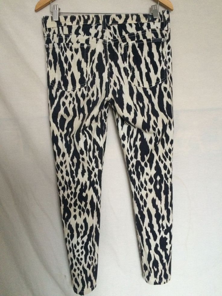 Womens 7 For All Mankind Skinny Jeans Sz 29 Cow Skin Pattern Stretch Low Rise #7ForAllMankind #Skinny