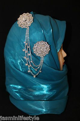 Ladies Diamante Double Chain Brooch Hijab Pin