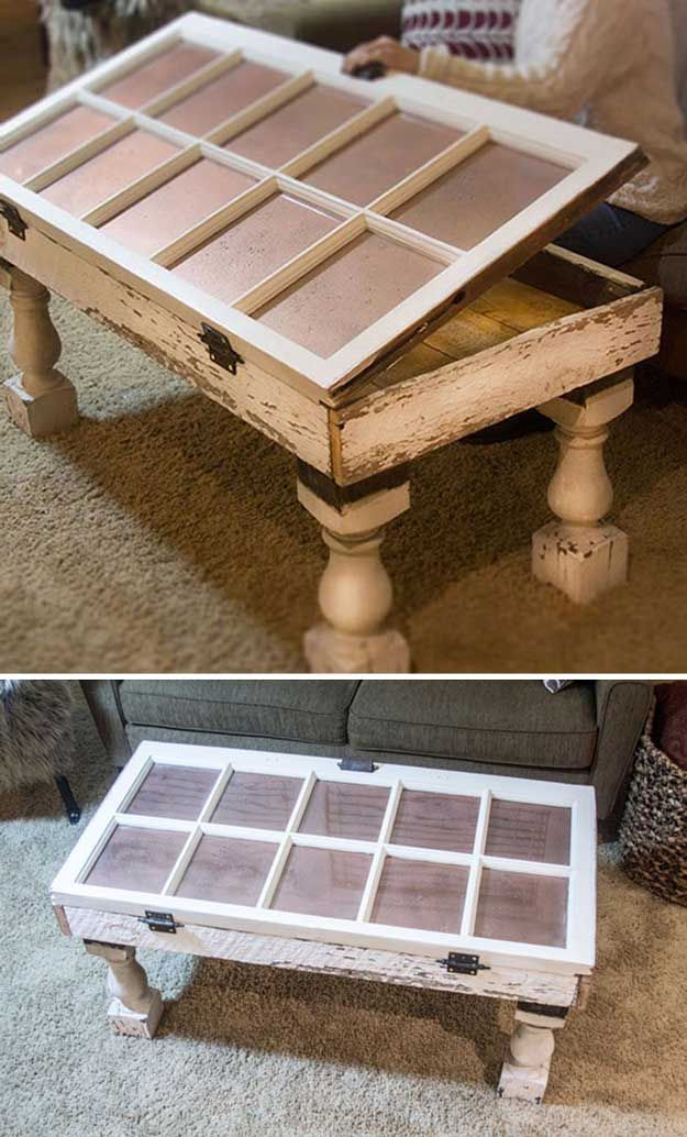 Upcycled DIY Shabby Chic Furniture | Salvaged Window DIY Coffee Table by DIY Ready at http://diyready.com/12-diy-shabby-chic-furniture-ideas/