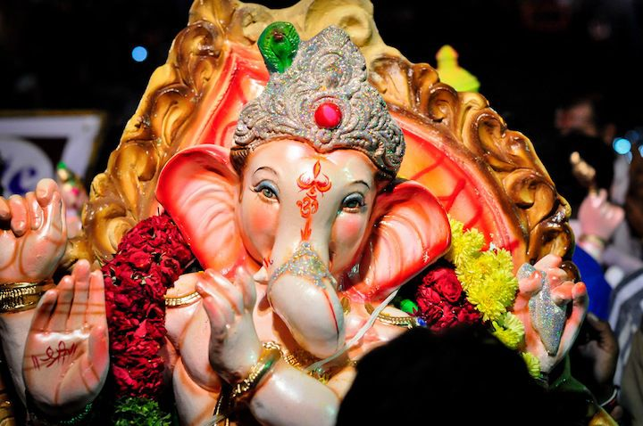 Ganesh murti during procession.