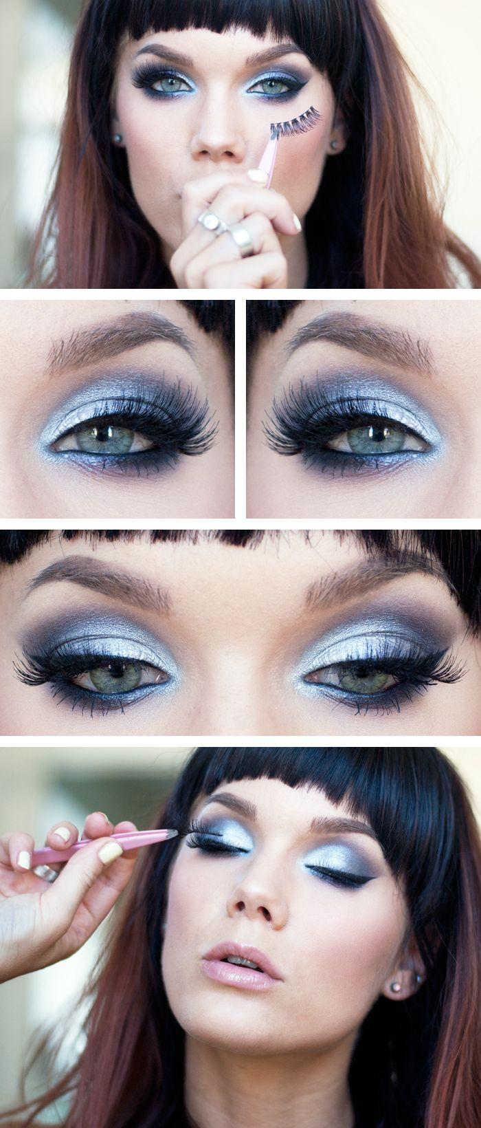 "-NYX HD eyeshadow base -Too faced Smokey eye -MAC Kohl power Eye pencil Feline -MUS Long lash mascara -NARS Eyeliner stylo Carpates -House of lashes ""Siren"""