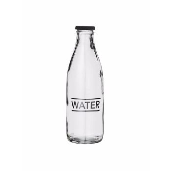 Bloomingville Glass Water Bottle: Clear glass water bottle. Black metal lid. This bottle is tableware it is not designed to be used as a portable lunch box' style bottle as the lid may leak.