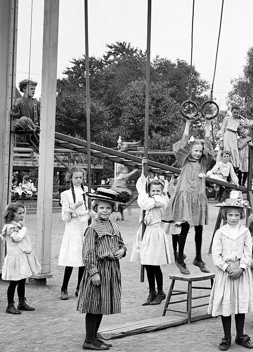 St. Paul, Minnesota, ca. 1905. Girls' playground, Harriet Island.