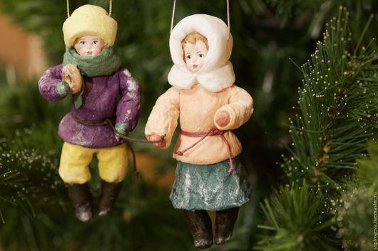 Человечки ручной работы. Новогодние игрушки, Ватные игрушки