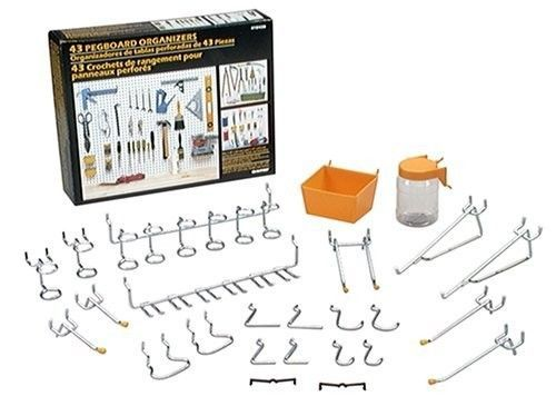 Pegboard Organizer Kit 43 Pc Shop Storage Tool Hangers Garage Hooks Wall Board  #Crawford