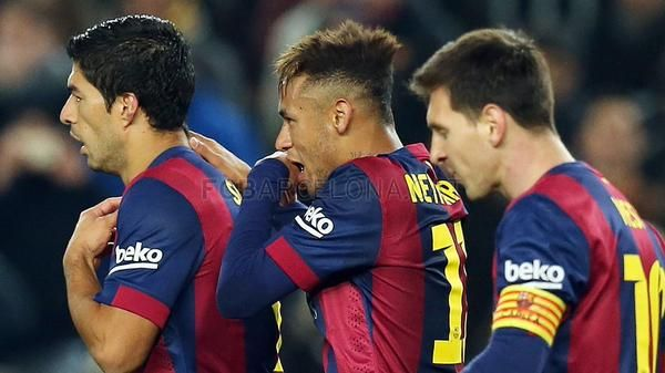 Suarez, Neymar and Messi during the game against Elche