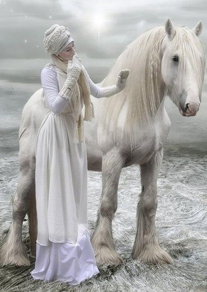 Fairytale setting - Girl in white with white horse