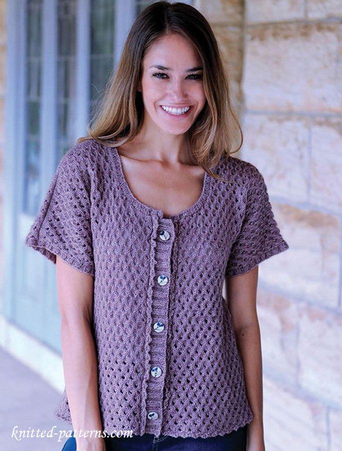 Womens jacket knitting pattern free Free knitting patterns Pinterest Fr...