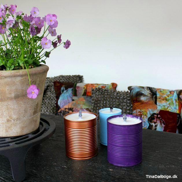 DIY - sådan laver du udelys i genbrugs konservesdåser - materialer: maling, udendørsvæger, stearinmix, farve til lysstøbning fra Kreahopshop.dk