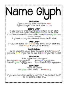 Here's a name glyph where students decorate the letters in their names to describe themselves.