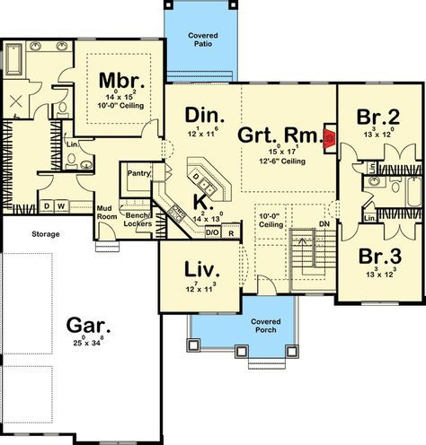 186 best house plans with potential images on pinterest for Craftsman floor plans with basement