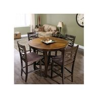 """SAVE $300 until Dec 29/13 Warm up your home with this two-toned, Cocoa/Toast finish pub height dinette. With solid wood legs and handsome wood veneer top, the table extends to 66"""". Suite includes table and 4 chairs"""