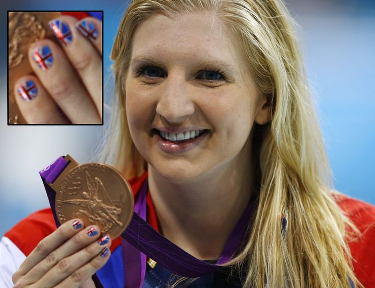Even Women of Olympic Swimming are sporting their nail art in the 2012 London Games. #RebeccaAdlington, Great Britain. - DIY nail art designs.
