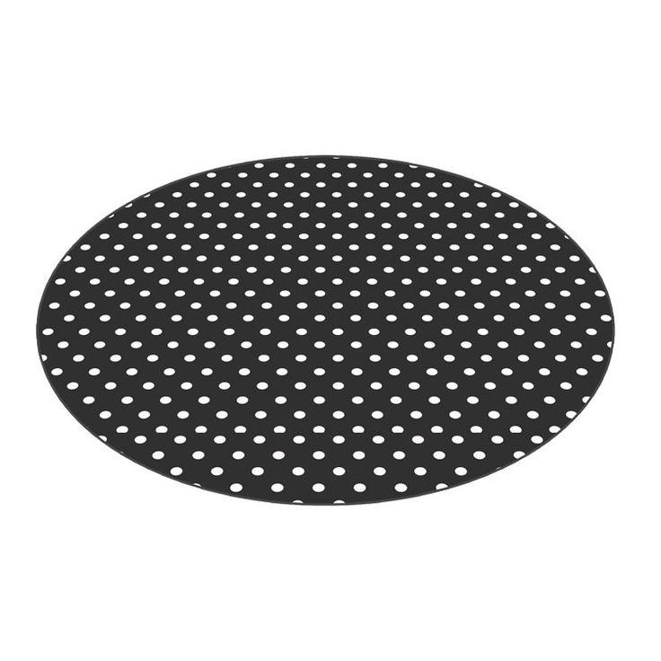 Rond tafelzeil Zwart met witte stippen - Rond zwart tafelzeil met witte stippen afgewerkt met bies. Het ronde tafelkleed heeft een doorsnee van 160cm. Het tafelzeil heeft een rode ondergrond met vrolijke witte stippen. Makkelijk schoon te houden met vochtige doek.