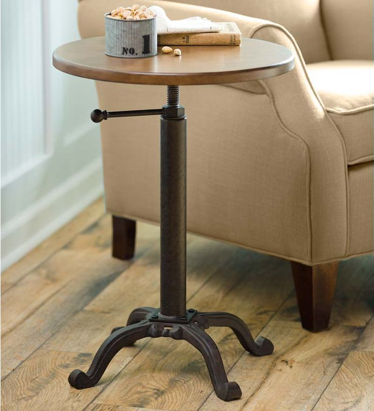"Adjustable Height Side Table - Plowhearth.com  18"" diam  $150"
