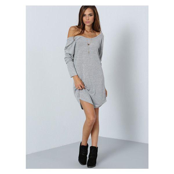 Grey Long Sleeve V Back Dress (12 AUD) ❤ liked on Polyvore featuring dresses, deep v back dress, gray long sleeve dress, grey dress, v back dress and long sleeve dresses