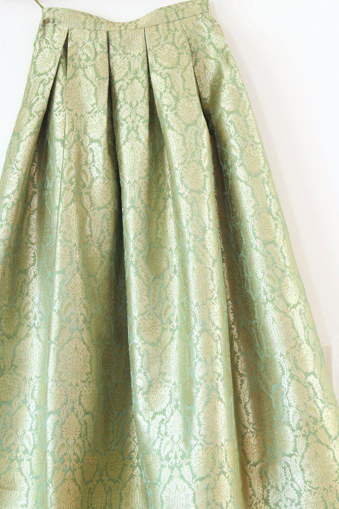 Gilded Skirt - Light Green  Buy Brocade Fabrics: https://www.etsy.com/in-en/shop/Indianlacesandfabric?ref=hdr_shop_menu&section_id=16883040