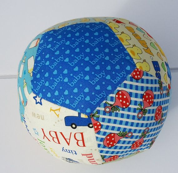 Baby Ball Baby Rattle Ball Fabric Ball Patchwork by GabbysQuilts