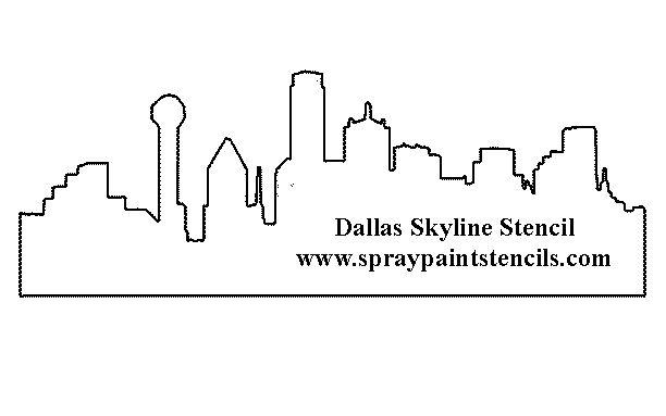 dallas skyline silhouette | Dallas Skyline Stencil - Free Texas City Outline