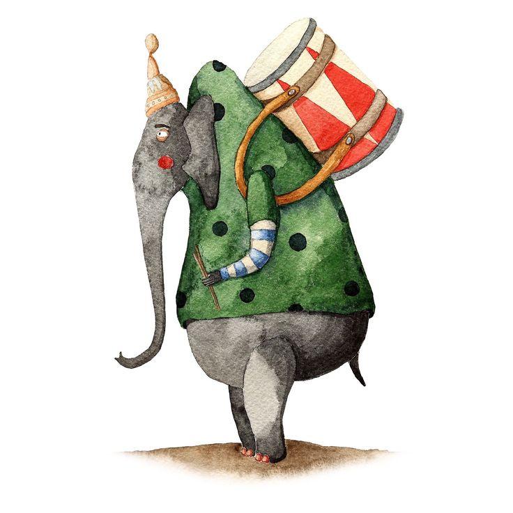Art, pain, painting, elephant, circus, aquarel, слон, цирк, барабан, путешествие.