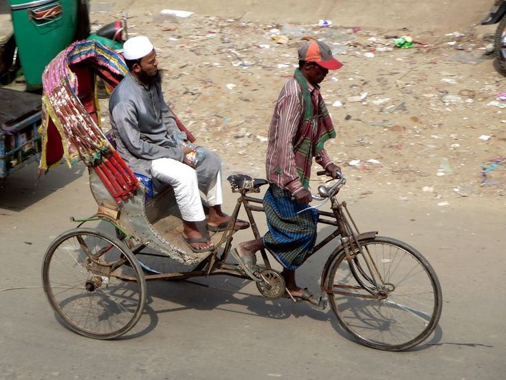 Cycle rickshaws are one of the main forms of transportation in Bangladesh. This example was seen in Srimongal.