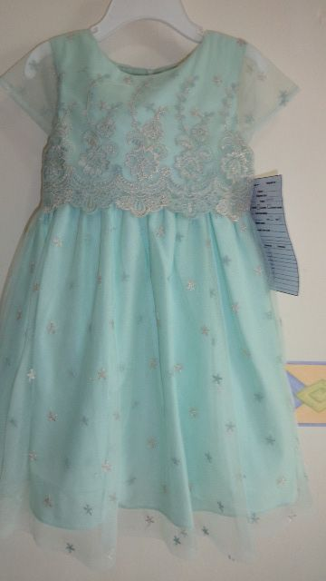 girls dress in fresh mint lace tulle fabric with heavy embroidery on top...fit for a royal!