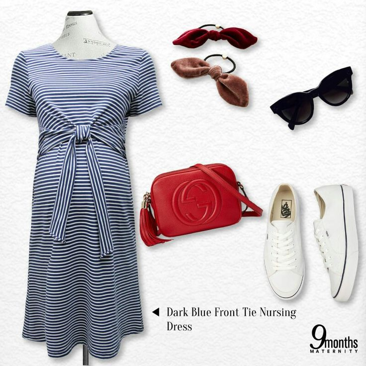 When comes to a hot sunny day we could go for something fun. Sport a playful look in a stripe dress matching with a sharp red sling bag and a pair of sneakers. It's casually fun and it's fit for our evergreen summer weather! www.9monthsmaternity.com  Get the dress Dark Blue Front Tie Nursing Dress → $38.32    #9months #9monthsmaternity #maternitydress #maternitywear #maternityclothes #maternityclothing #maternityfashion