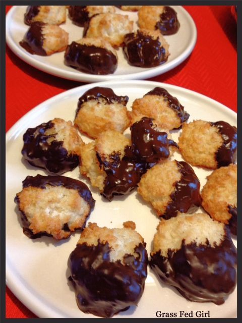 These Chocolate Kissed Grain Free Coconut Macaroons are sure to delight the coconut and chocolate lovers! They were a big hit on my little sister's French themed bridal shower and there was only one left at the end. We had to hide the one cookie so the groom could try it.