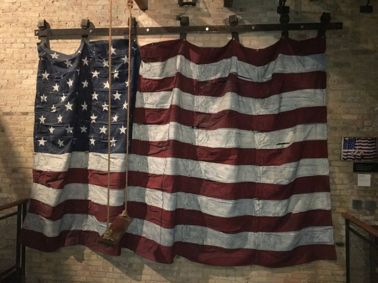 Huge denim flag hanging on a wall in the lounge of the Iron Horse Hotel, Milwaukee, Wisconsin; less than a mile to the Harley Davidson Museum.