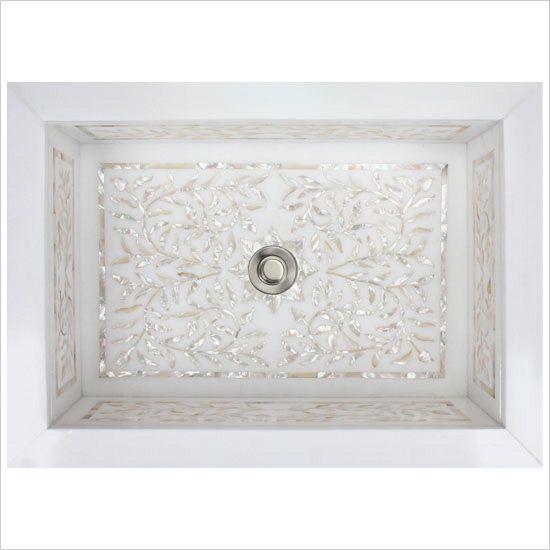 Linkasink Bathroom Sinks – White Marble Mother of Pearl Inlay – MI01 Floral Drop-In Bath Sink
