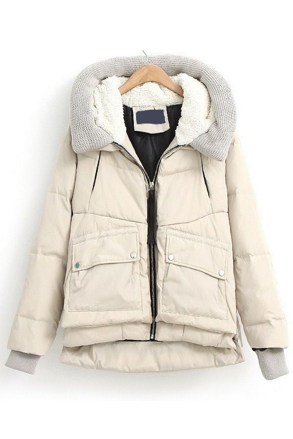 Loose knit stitching hooded down coat(3 colors)_Coats_CLOTHING_Voguec Shop $69.92
