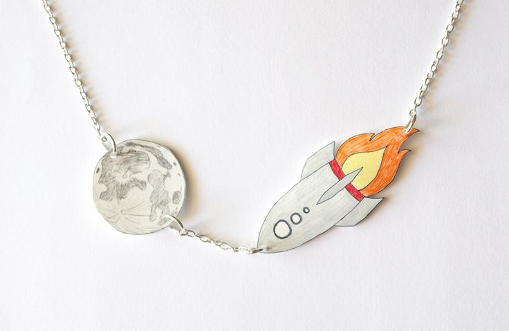 Rocket To The Moon Hand Drawn Necklace - Made To Order. $25.00, via Etsy.