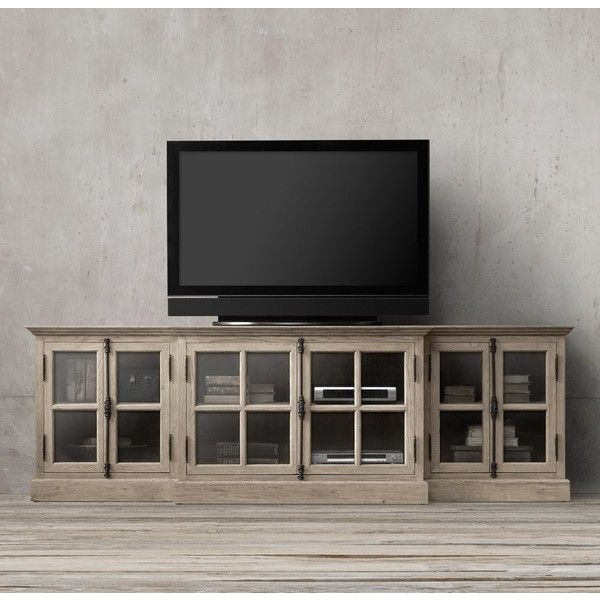 """Restoration Hardware Entertainment Center: French Casement 100"""" Glass Media Console ($1,995) Liked On"""
